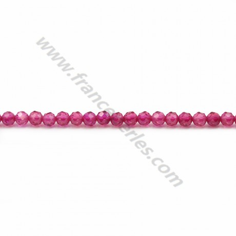 Round faceted synthetic ruby 3mm x 40cm