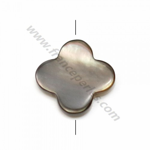 Gray mother-of-pearl clover beads 10mm x 4 pcs