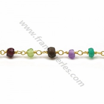 Gold Plated Chain with Mixed Stones of  2.5*4mm x 20cm