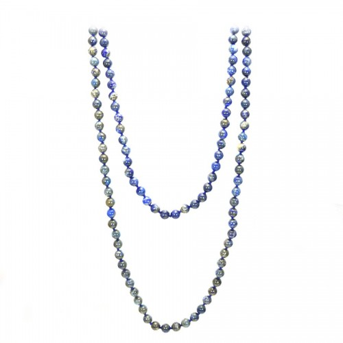 Necklace lapis-lazuli round  8mm  140cm