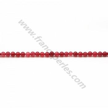 Jade teinté rouge rond 2mm x 40cm