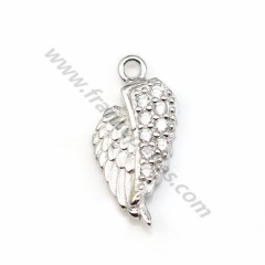 Wing-shaped charm, in 925 sterling silver & zirconium, measuring 6 * 13.5mm x 1pc