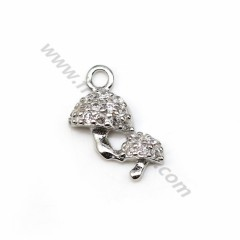 925 sterling silver pendant with zirconium oxide, mushroom shaped 5.5 * 9mm x 1pc