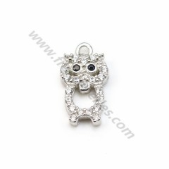 925 sterling silver pendant with zirconium oxide, in owl shaped 6 * 11.5mm x 1pc