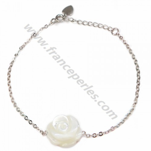 Bracelet chaîne silver 925 flower in white shell