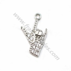 925 silver & zirconium charm, in shape of handmade, measuring 8 * 14mm x1pc