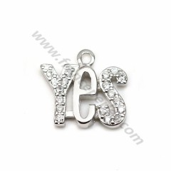 "925 silver & zirconium charm, in shaped of ""yes"" measuring, 9.5 * 10.5mm x 1pc"