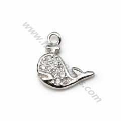 925 silver & zirconium charm, in the shape of dolphin, measuring 7 * 9mm x 1pc