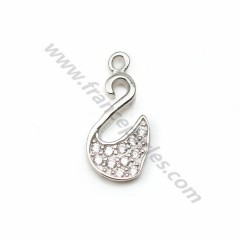 925 silver & zirconium charm, in the shape of a swan, measuring 6.5 * 13.5mm x 1pc