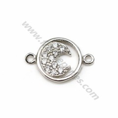 925 silver & zirconium intercalary, in shape of moon, measuring 9 * 13.5mm x 1pc