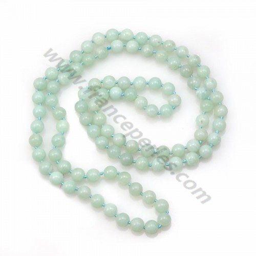 Long necklace in amazonite, with stones measuring 8mm, and a length of 90cm x 1pc