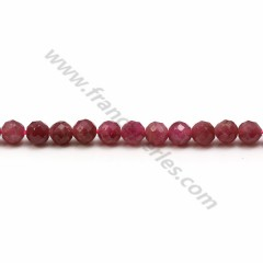Tourmaline dark pink, in shape of round faceted, measuring 4mm, x 40cm