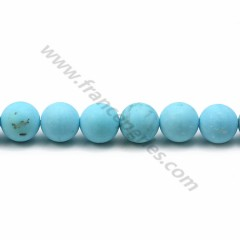 Turquoise reconstituted matte of round shape, measuring 8mm x 40cm