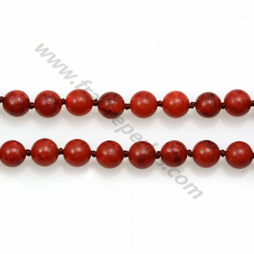 Long necklace in red gorgon, measuring 8mm, on a length of 80cm x 1pc
