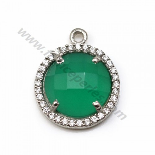 Faceted rhombus green agate set in 925 silver with zirconium 15mm x 1pc