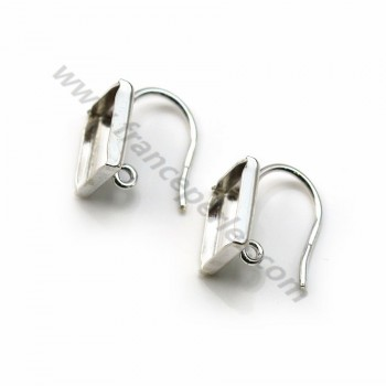 Ear hook, in 925 silver, in shape of square cabochon measuring 11 mm x 2pcs
