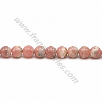 Rhodochrosite rose, de forme ronde, de taille 5-5.5mm x 40cm