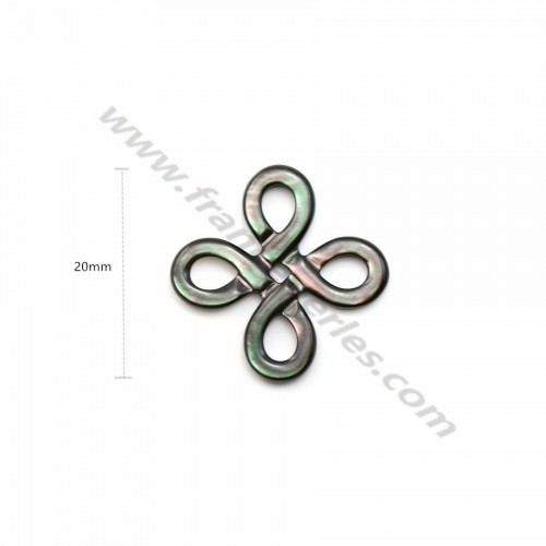 Gray mother-of-pearl chinese knot 20mm x 1pc