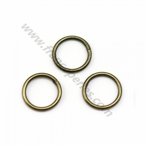 Round welded rings, in metal bronze color, 1 * 8mm about 50pcs