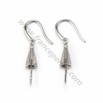 Earwires with attach pendant for half- drille, 925 Streling silver rhodium, x 2pcs