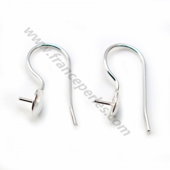 Ear hooks, in 925 silver, with cup, 21 * 9mm x 2pcs