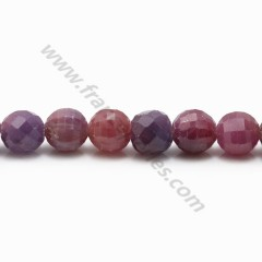 Red ruby, in the shape of round faceted, 8mm x 40cm