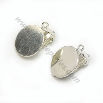 Clip Earrings with pad  , Sterling Silver 925 , 14mm  X 2 pcs