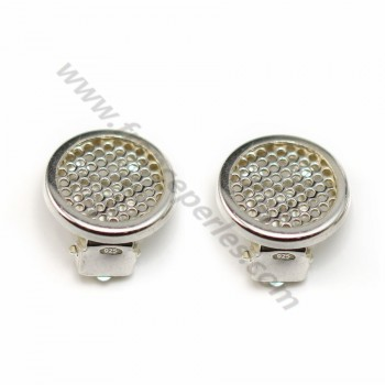 EAR CLIPS WITH SIEVE 14MM SILVER 925 X2PCS