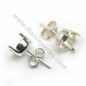 Stud earrings holder cabochon 925 8.5mm X 2 pcs
