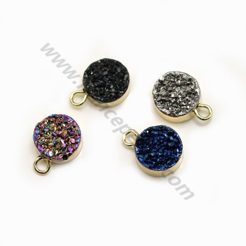 Pendant in druzy, in different colors, in round shape, 8mm x 1pc