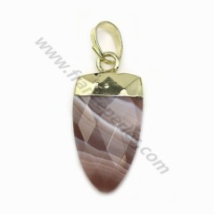 Pendant in Botswana agate, set in gold metal, 10 * 18mm x 1pc