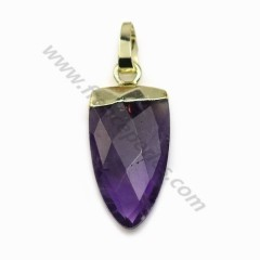 Pendant in amethyste, set in gold metal, 10 * 18mm x 1pc