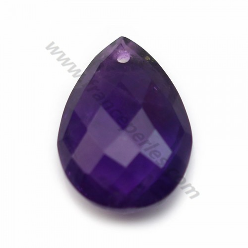 Purple amethyst, in faceted drop shaped, 13 * 18mm x 1pc