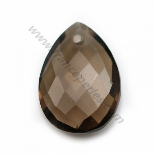 Smoked quartz, in faceted drop shaped, 13 * 18mm x 1pc