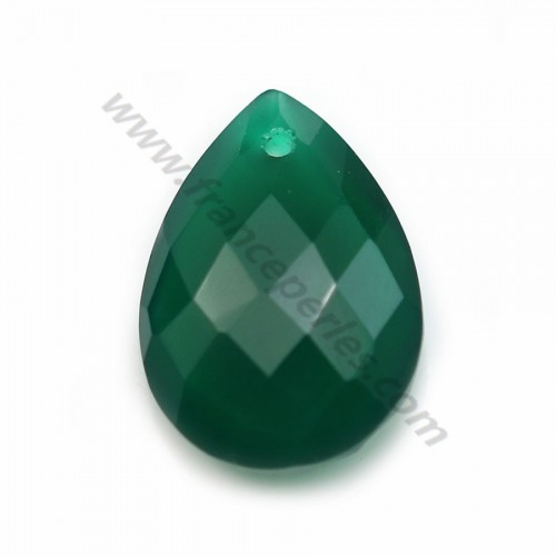 Green agate, in faceted drop shaped, 13 * 18mm x 1pc