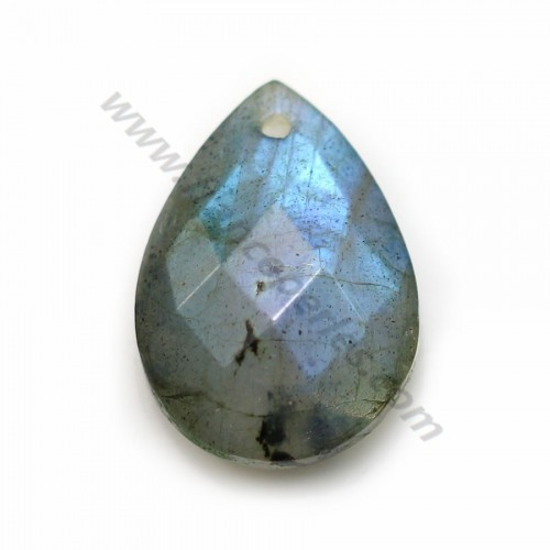 Labradorite, in faceted drop shaped, 13 * 18mm x 1pc