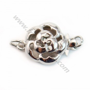 Round Flower Clasp, 925 Silver rhodium, 11mm X 1 pc