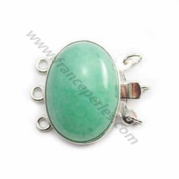 Fermoir 3R en cabochon Pierre 13*18mm X1pc