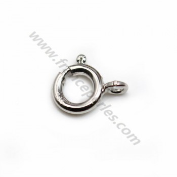 Spring ring clasp, 925 silver rhodium 8mm X 1 pc