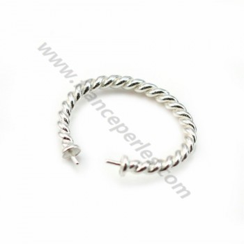 925 sterling silver flexible twisted ring double half drilled x 1pc