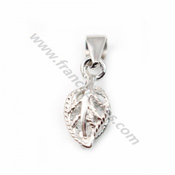 Bail with leaf, Silver 925 Rhodium 6x15.5mm X 1 pc