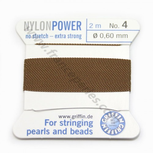 Nylon power wire with needle included, in brown color x 2m
