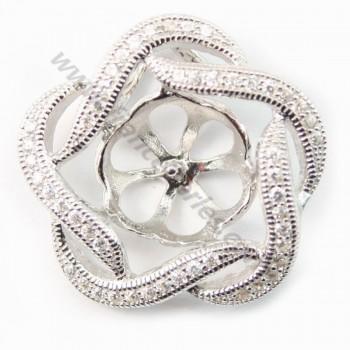Silver  925 pendentif croise with zircon 20mm X 1pcs