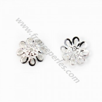 925 Sterling Silver Flower Saucers 8mm x 4pcs