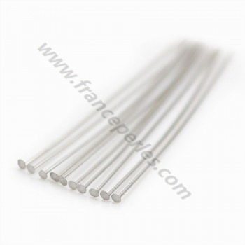 Rhodium 925 silver flat head pin 1.5x0.5x40mm x 10pcs