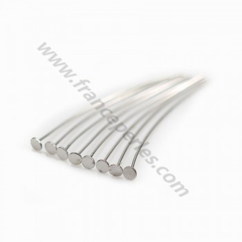 sterling Silver 925 Rhodium headpin 2X0.38X 25mm x20 PCS