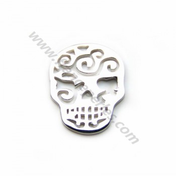 925 streling silver skull open stitch 13x16mm  x 1pc