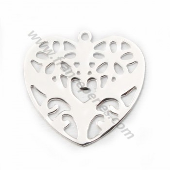 Silver  925 openwork heart  intercalary 15*15mm X 2 pc