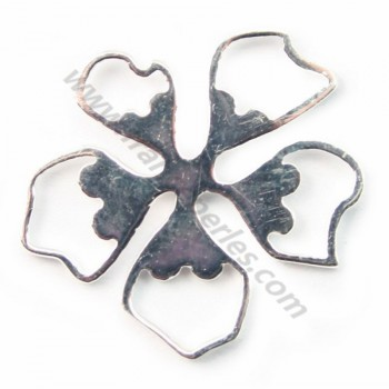 Silver  925 openwork flower intercalary  14 mm X  1pc