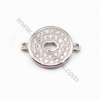 925 Sterling Silver rhodium Bridge round with zirconium 12x16.5mm  X 1 pc